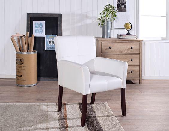 Poltrona Recta Blanca. Ideal para decorar livings pequeños o dormitorios.