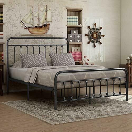 Queen Bed Frame Vintage Iron Rustic, Heavy Duty Queen Bed Frame With Headboard