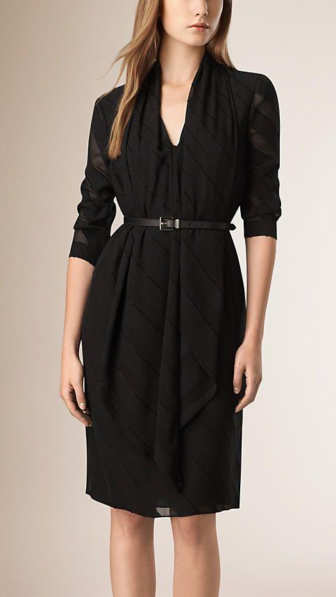 Black Drape Detail Striped Silk Blend Dress - Burberry $1495