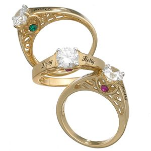 Buy 10K Gold Couple's Name & Birthstone CZ Promise Ring at Limoges