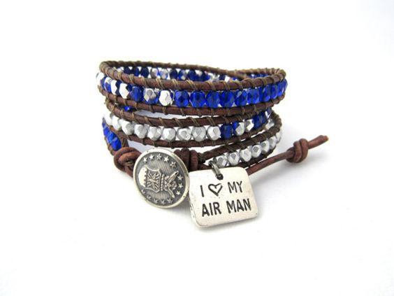 I Love My Airman Bracelet Air Force Triple Wrap by WithLoveWraps