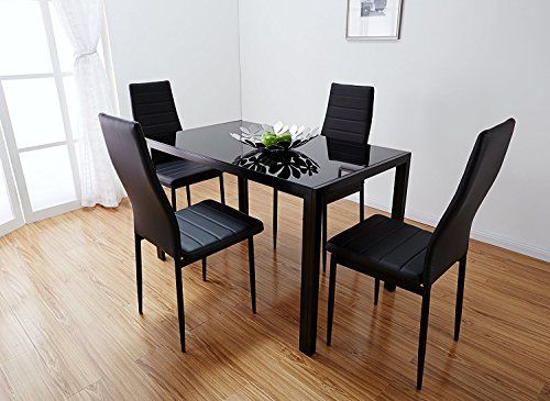 Black Glass Dining Table Set With 4 Faux Leather Chairs Brand New Black Black Glass Dining Table Rectangle Glass Dining Table Glass Dining Room Table