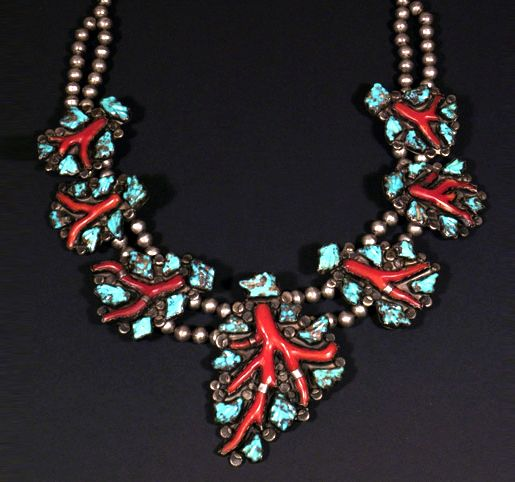 Necklace   Dan Simplicio (Zuni).  Silver beads and plaques of Villa Grove Turquoise and branch coral.  ca. 1945