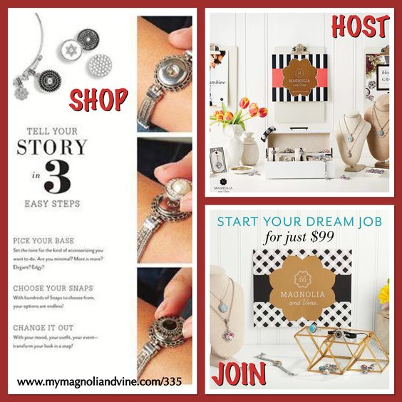 Love new jewelry trends? Then look no further than Magnolia & Vine! They offer jewelry, accessories and interchangeable snaps that allow you to create a style that is all your own! Ask me how you can ORDER your own items, HOST your own Social or JOIN my Magnolia & Vine team. For more details - www.MyMagnoliaAndVine.com/335