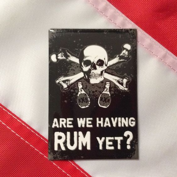 Magnet Are We Having Rum Yet black/white fun GIFT novelty skull and crossbones  #FlappinFlags