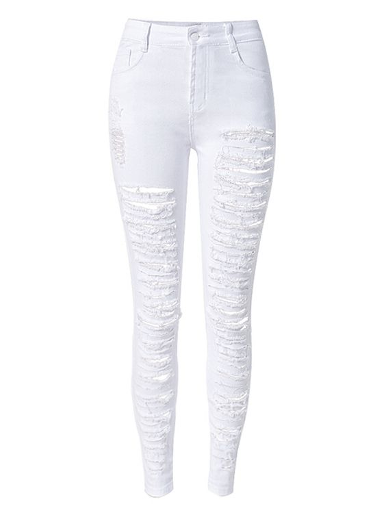White Extreme Distressed Rip Detail Skinny Jeans | Sleeve Style