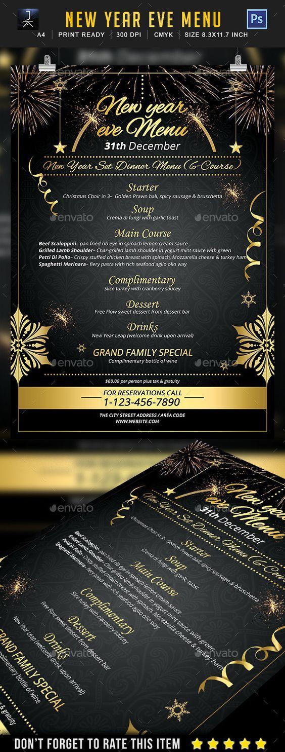 New Year Menu Flyer Template PSD #design Download: http://graphicriver.net/item/new-year-menu/14051836?ref=ksioks:
