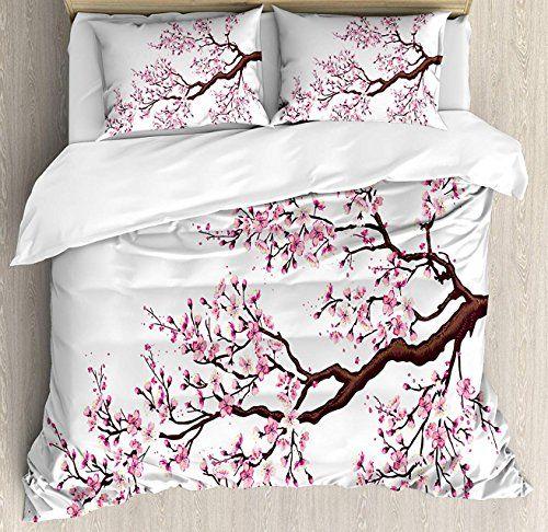 Big Buy Store Japanese Duvet Cover Set Branch Of A Flourishing Sakura Tree Flowers Cherry Blossoms Spring Theme Duvet Cover Sets Duvet Covers Bed Duvet Covers