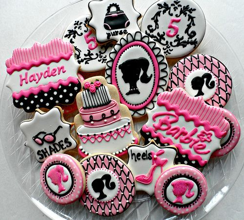 Barbie Birthday party. Cookies. Vintage. Pink & black.: