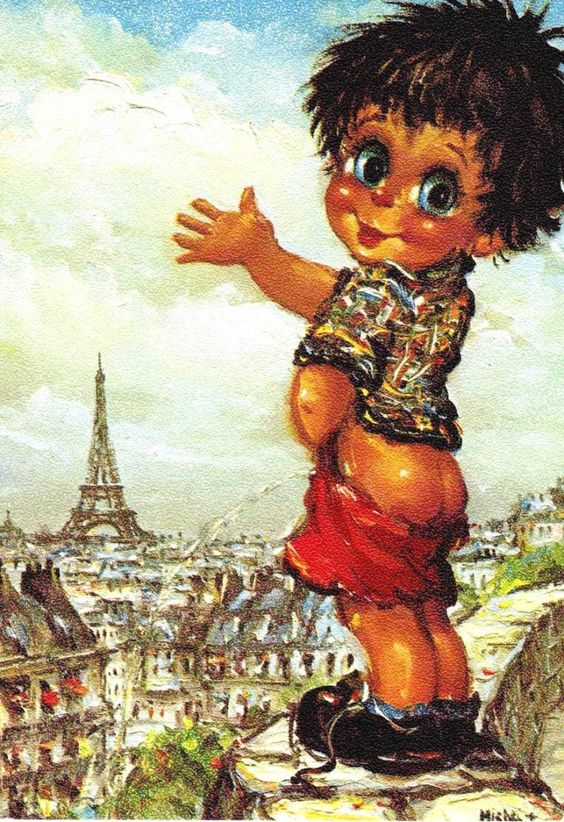 Акварельные картинки из 70-80 годов прошлого века... В середине 70-х прошлого века были очень популярны открытки парижского дизайнера и иллюстратора Michel Thomas, заставляющие  улыбнуться, дарящие радость и возвращающие нас в детство.