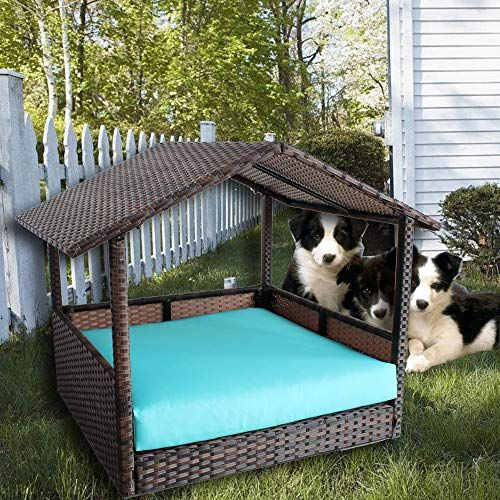 Leaptime Patio Seating Pet House Pe Brown Rattan Playpen Indoor Outdoor Wicker Dogs Cats Rabbits Play Sofa Garden Seating Cushion Turquoise Review Dog Playpen Dog Playpen Indoor Outdoor Wicker