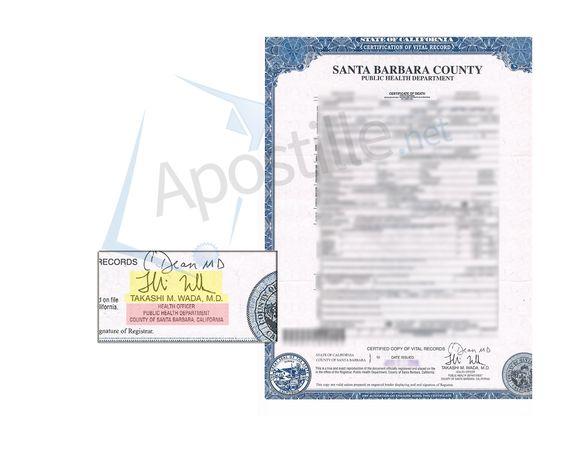 Santa Barbara County Certificate of Death signed by Takashi M Wada - copy fresno california birth certificates