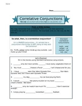 this worksheet explains correlative conjunctions with practice fill in the blank questions. Black Bedroom Furniture Sets. Home Design Ideas
