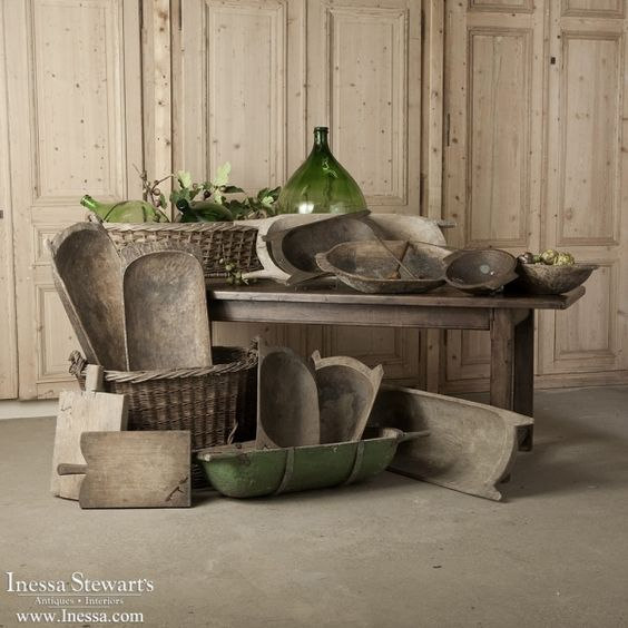 Country French Antiques | Culinary Antiques | Antique Hand-Carved Wooden Grain Bowls and Bread Boards | www.inessa.com