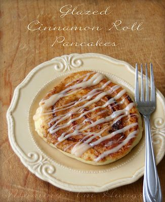 Glazed cinnamon roll pancakes, so easy!