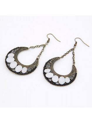Pretty Gemstone Decoration Crescent Earring Set for Woman