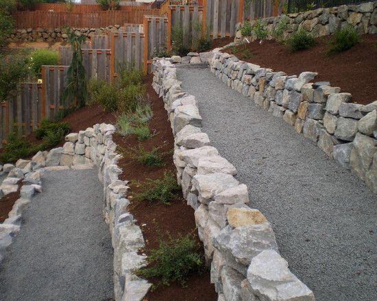 Gardens backyards and i am on pinterest for Sloped rock garden designs