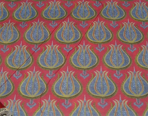 'Aged tulips with gold and silver': swatch 'Aged tulips with gold and silver': proofing swatch printed by Spoonflower on basic combed cotton.  A simplified simulation of a woven textile from the Ottoman court studios, a remnant of the original is in the Davidson Museum in Denmark. © Su Schaefer 2012   Fabric: www.spoonflower.com/fabric/1466678