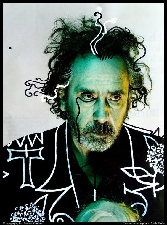 """Tim Burton Illograph"" #photo by Nadav Kander #illustration by Nicole Guice"