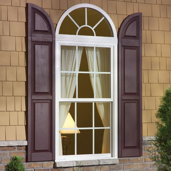 Vinyl Arched Window : These window shutter accessories are call transom arch