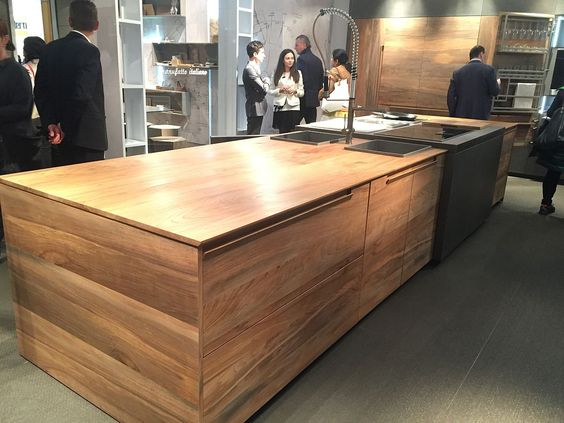 Kitchens seen at Salone del Mobile 2016 in Milan. Fossilized wood turned into a smart kitchen island by Toncelli