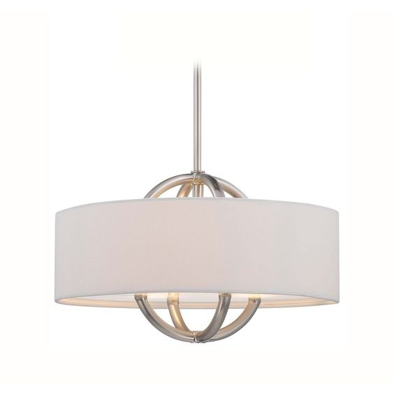 Modern drum pendant light with white shade in brushed nickel ...