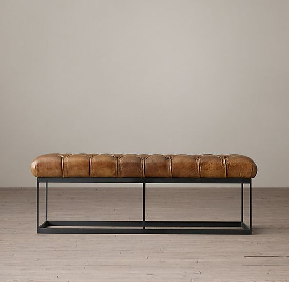 50 Tufted Leather Metal Bench 50 W X 20 D X 16 H 796 Net Stocked In Molases Or Tobacco