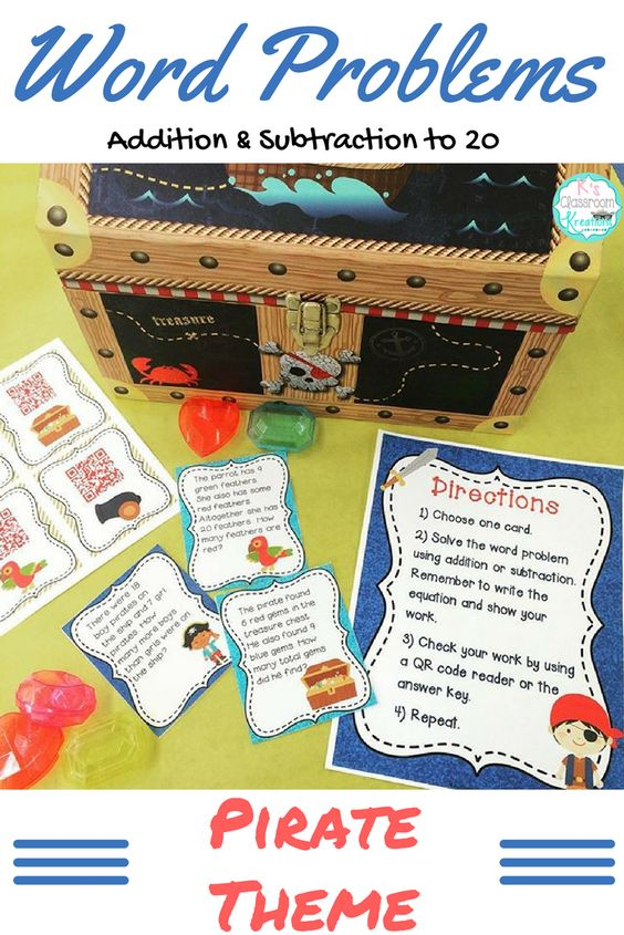 Practice solving addition and subtraction word problems to 20 with this fun pirate themed math center. Problem solving is made easy with self checking QR code answer cards.