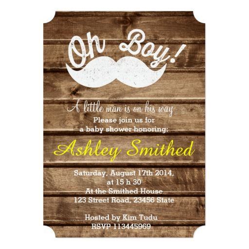Boy Baby Shower Funny White Mustache Stripe Wood Personalized Invites
