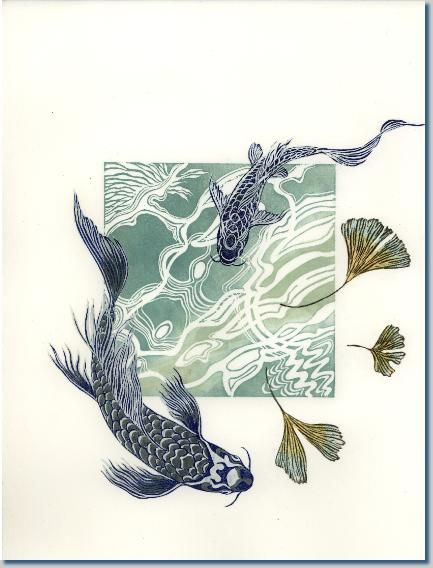 Linocut. April Wilson - Branches into Wings: