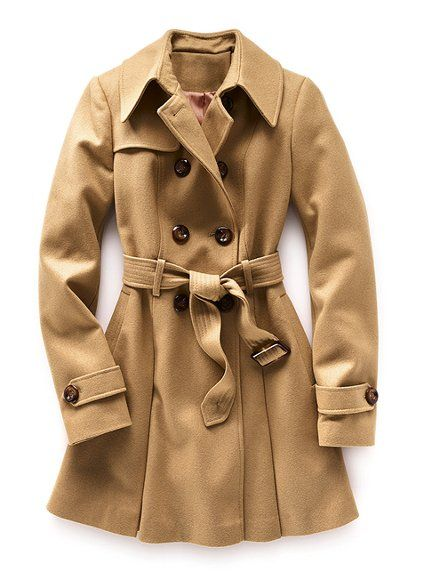Victoria's Secret wool  #trenchcoat in deep camel. I like the cut (double-breasted, nice collar, belt, buttons, details on the cuff) and the color (dark, not faded)