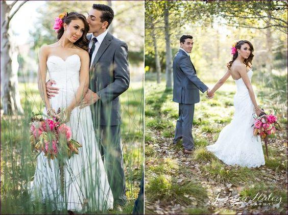 Pink & Orange wedding - bride & groom outdoor portraits