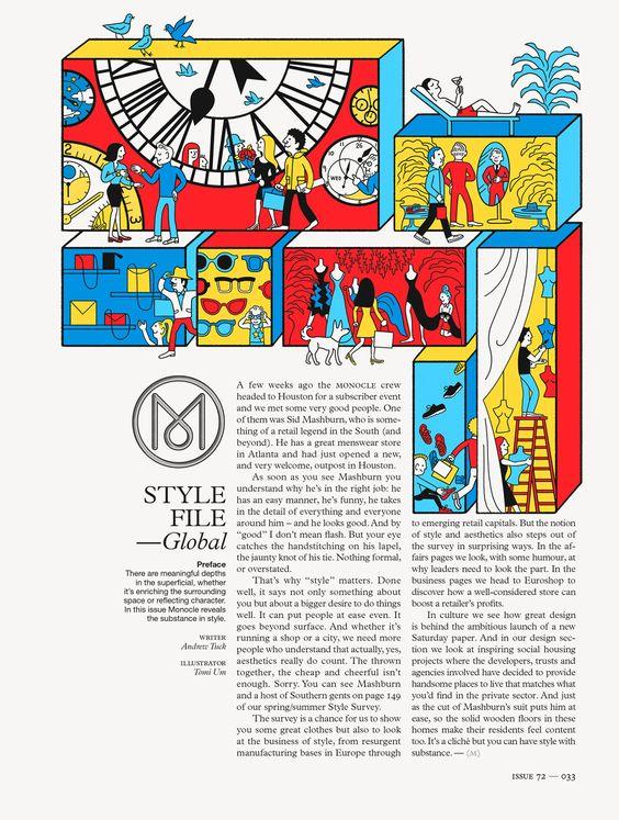 Monocle Magazine 72 - ♨ Tomi Um ♨ Opener page illustration