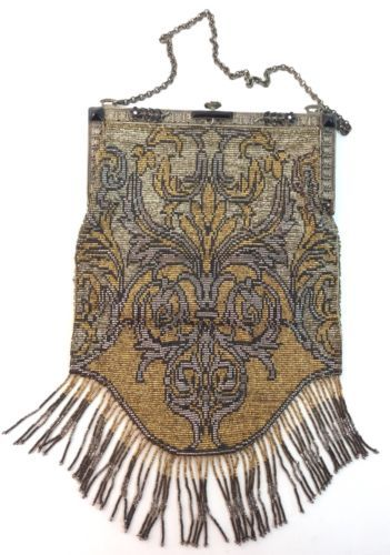 VICTORIAN-BEADED-FRINGE-PURSE-bag-Steel-Cut-Gold-Silver-Onyx-Vintage-Antique