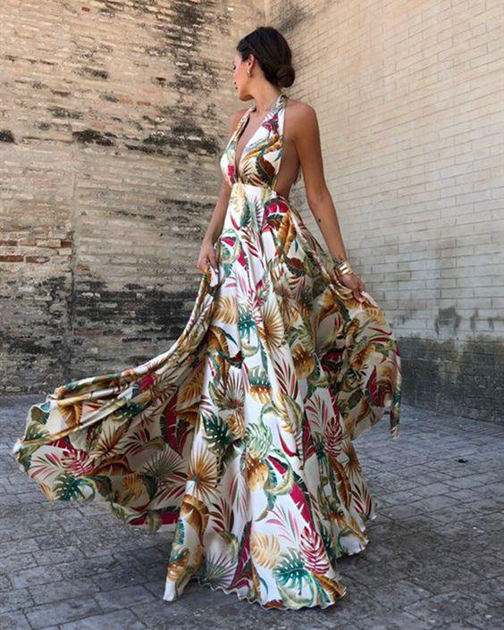 Bohemian Halter Neck Sleeveless Printed Maxi Dresses - ZUCHIC