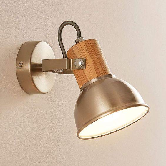 LED Wandlampe Dennis Strahler Spot E14 Lampenwelt Metall Holz Deckenleuchte