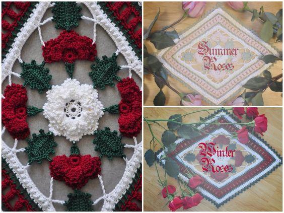 #Roses are in bloom in Winter and Summer in Kathryn White's Irish #crochet #doily.
