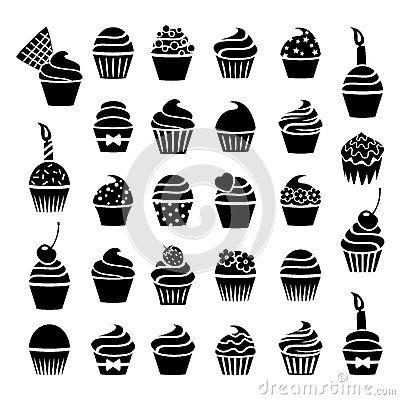 vector cupcakes icons by Dmstudio, via Dreamstime