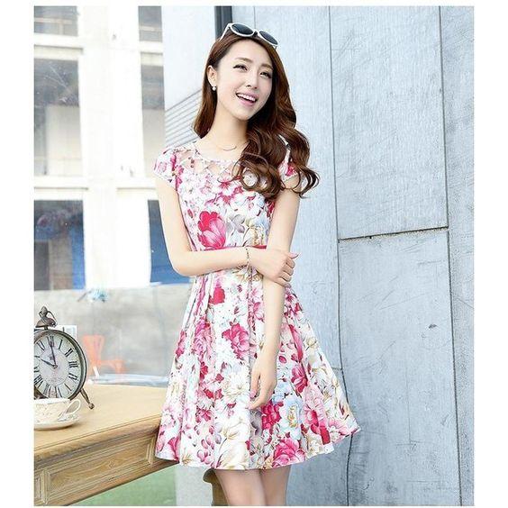 Floral A-Line Dress (295 HKD) ❤ liked on Polyvore