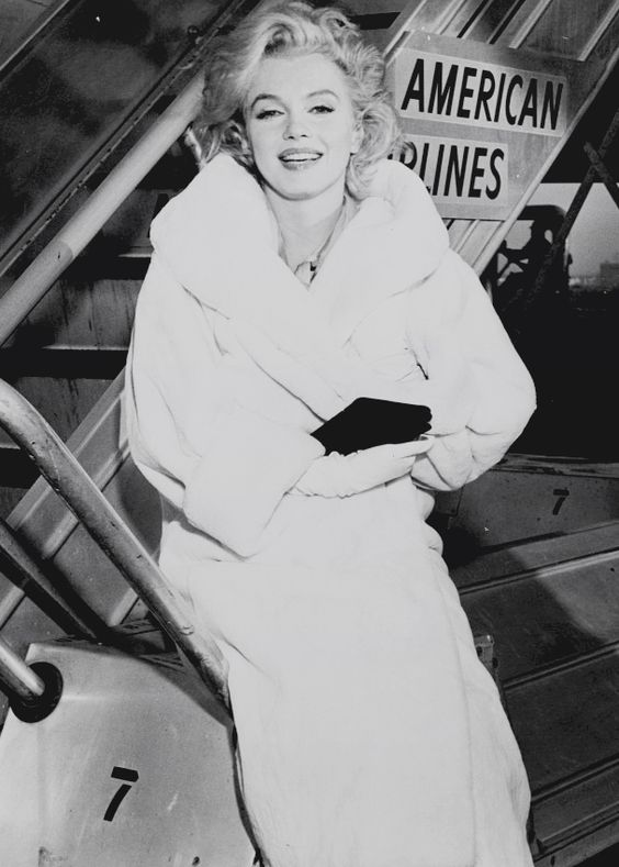 "lauralftn: "" Rare photograph of Marilyn Monroe at Idlewild Airport, November 1958 after the filming of Some Like It Hot. """