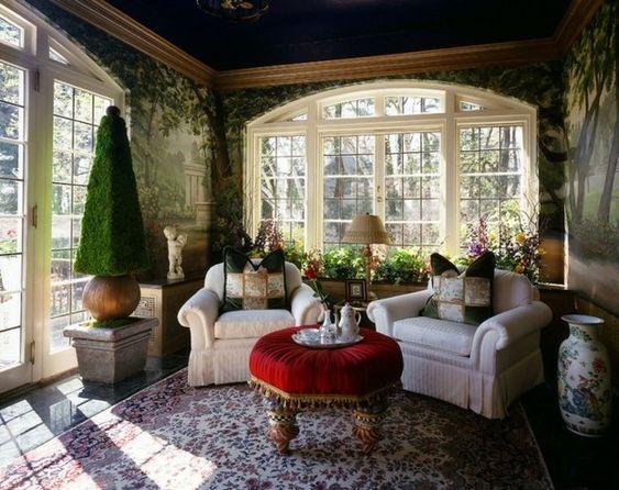Wintergarten einrichten Pflanzen Möbel Deko kleiner Kaffeetisch - grandiose und romantische interieur design ideen