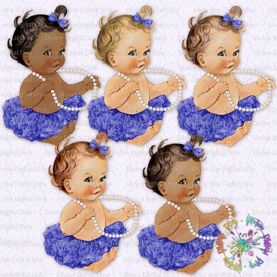 Ballerina Baby | Pearls Purple Tutu | Vintage Baby Girl | 3 Skintones | Clipart  Instant Download