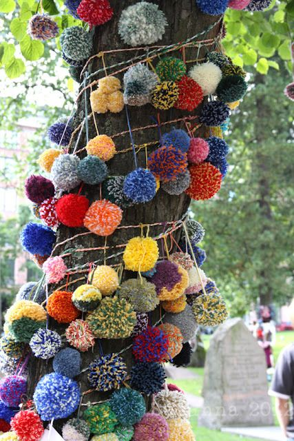 Pom Pom Yarn Bomb! If you can't knit and you want to yarn bomb, this is the way.:
