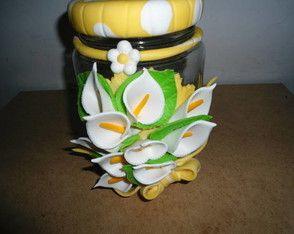 pote decorado, polymer clay, masa flexible