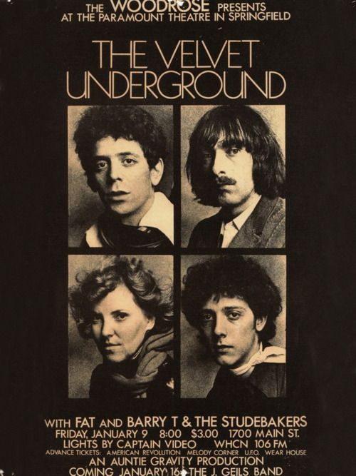 The Velvet Underground concert flyer, 1970.