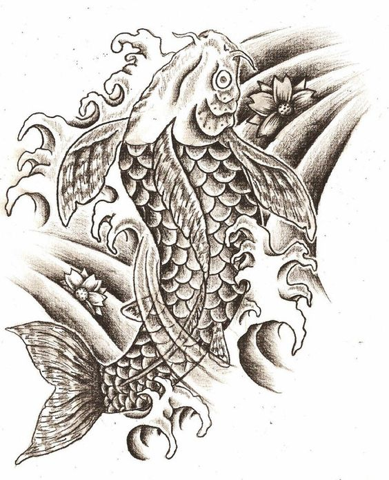 Black and white koi fish tattoo design tattoos for Black white koi