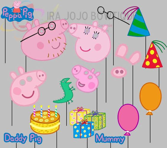 Peppa Pig Party Photo Booth Props-2, Peppa Pig Family Party Photo Props by IraJoJoBowtique on Etsy https://www.etsy.com/listing/227297962/peppa-pig-party-photo-booth-props-2