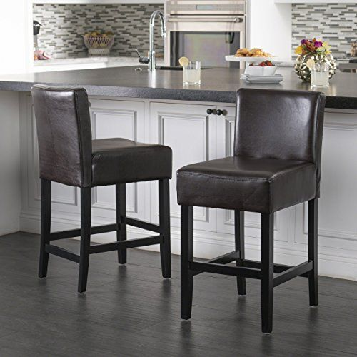 Christopher Knight Home 237529 Lopez Leather Counterstools Brown Brown Leather Bar Stools Leather Counter Stools Bar Furniture