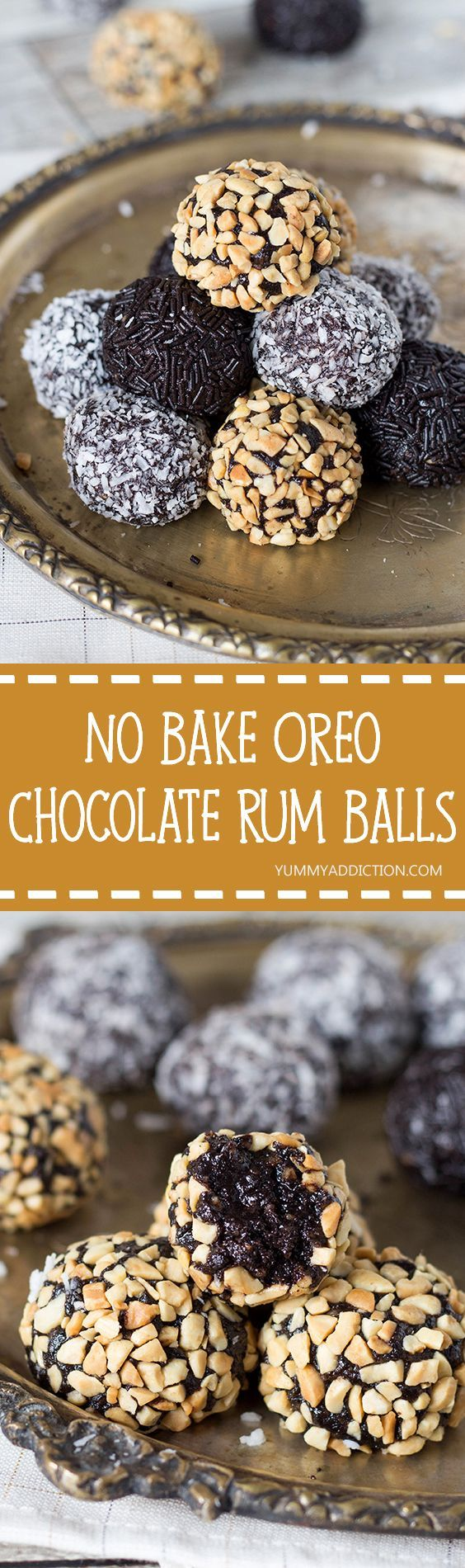 These Oreo Chocolate Rum Balls stuffed with walnuts will be the easiest thing you have ever made. They require no oven time at all, and are perfect for serving the guests! | yummyaddiction.com