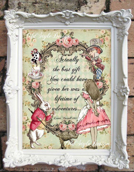 ALICE in WONDERLAND Print Alice in Wonderland by OldStyleDesign